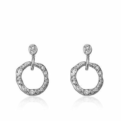 Womens Satin Rhodium-Plated Crushed CZ Embellished Open Circle Dangle Earrings
