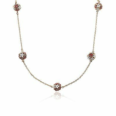 LMTS Girls CZ & Red & White Color Enamel Balls On 14k Gold-Plate Chain Necklace