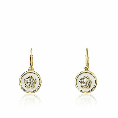 LMTS Girls 14k Gold-Plated Coin Pearl With CZ Flower Dangle Leverback Earrings