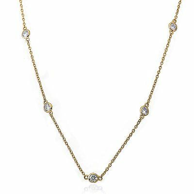 Girls 14kGold Plated Cubic Zirconia By The Yard Chain Necklace Jewelry