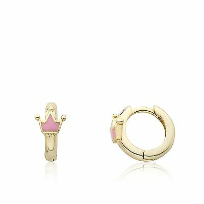LMTS Girls  Rocking Royalty 14K Gold Plated Pink Enamel Crown Baby Huggy Earring