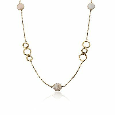 Womens 14k Gold Plated Open Links Coin Pearls Chain Fashion Necklace Jewelry