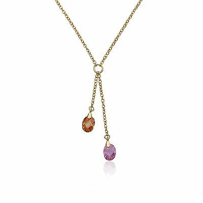 Girls 14k Gold Plated Lariat  Champagne & Pink Crystal Drop Necklace Jewelry
