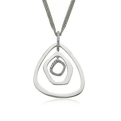 Womens CZ 3 Satin Triangles Large Pendant On 3 Strand Chain Necklace Jewelry
