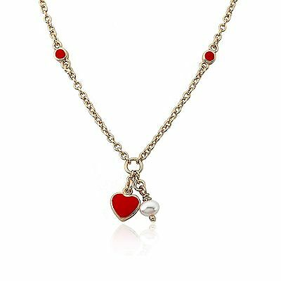Girls 14k Gold Plated Red Enamel Heart White Pearl Dangle Chain Necklace Jewelry