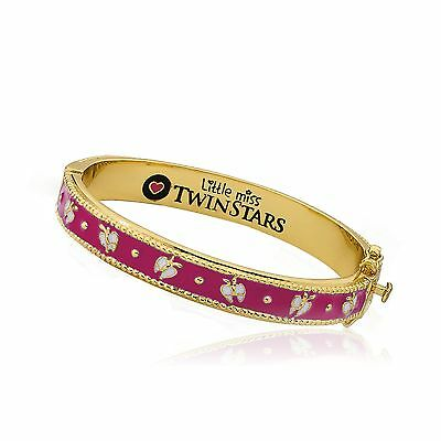 Girls 14k Gold Plated Hot Pink Enamel Bangle White Butterflies Charm Jewelry