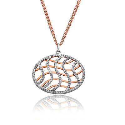 Womens Charm CZ Over Rose Gold Swirls Woven Pendant Chain Necklace Jewelry