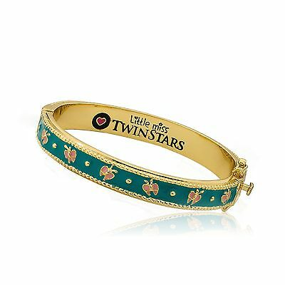 Girls Charm 14k Gold Plated Turquoise Plated Pink Butterflies Bangle Bracelet