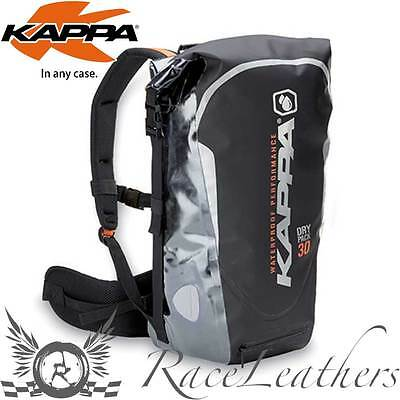 Kappa Waterproof Black Silver Dry Pack Rucksack Motorcycle Luggage 30 Litre
