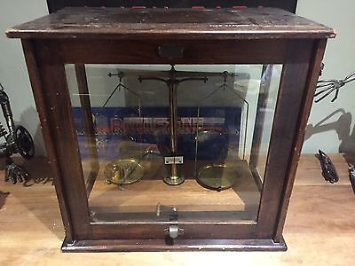 townson & merger antique Scientific Laboratory Scales in wood and glass case