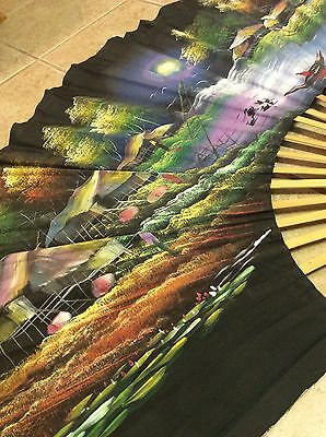 Large Hand painted Colorful Authentic Oriental Paper Fan Wall Art Wood Handles