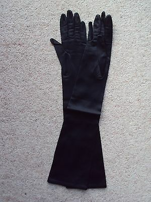 Vintage 1950's Opera Length Gloves Ladies Black Satin Size 7 Made in France VGC
