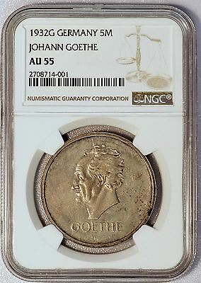 1932G Germany 5 Reichsmark Johann Goethe Coin NGC AU55 Total Mintage 1200 pieces