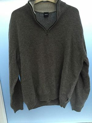 Hugo Boss Mens XXL Grey Jumper 100% Wool