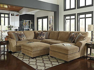 CAIN - Large Modern Brown Chenille Living Room Sofa Couch Chaise Sectional Set