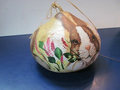 Hand painted Bunny Easter Gourd Signed Kim Cabbage 1999