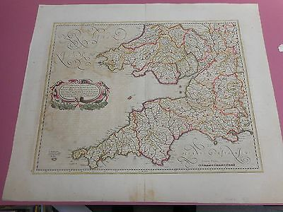 100% Original Large South West Cornwall Devon Map By Honduis/mercator C1639 Vgc