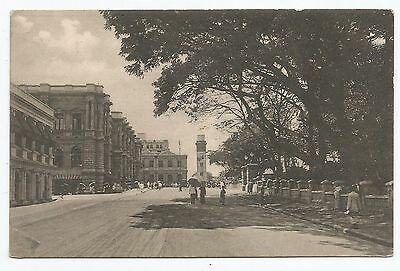 POSTCARD-CEYLON-PTD. Queen Street, Colombo, Showing Clock Tower in Distance.