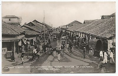 POSTCARD-CEYLON-RP. Main Street Pettah, Showing The Native Quarter of Commerce.