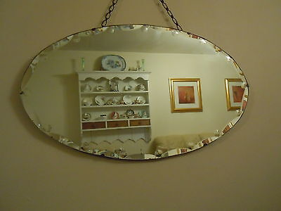 "Art Deco / Mid Century Frameless Bevelled Edge Oval Wall Mirror , 26"" X 15"""