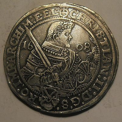 1608 High Grade German States Silver Taler Christian II Saxony