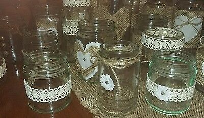 18 Wedding  centrepiece Jars Hand Decorated for Tealight Candles Rustic/Vintage