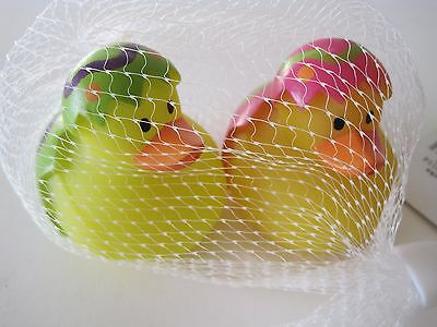 Lot of 2 Rubber Yellow Easter Ducks Duckies