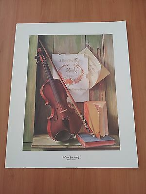 Large Art Prints / Paper Tole Kit, Violin - I Love You Truly PLUS FREE GIFT