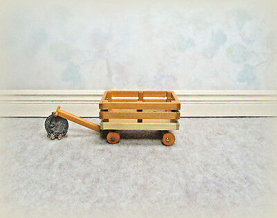 Dollhouse Miniature Wood Wagon with Rotating Wheels
