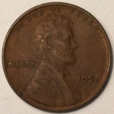1951 U.S.A One Cent, Lincoln Wheat coin