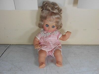 Vintage French Clodrey Polyflex Baby Girl Soft Body Doll - Pink Outfit Blue Eyes