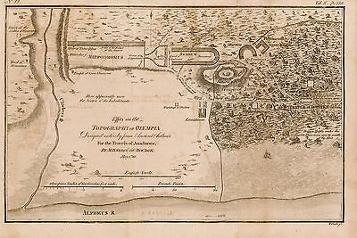 Genuine antique map of the Topography of Olympia in Ancient Greece, 1780