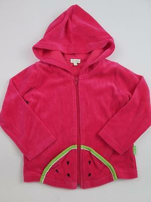 Le Top Toddler Girls Watermelon Hot Pink Velour Winter L/S Hoodie Sweater 4T Euc