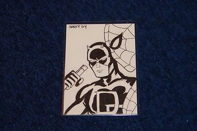 Daredevil And Spider-Man Mark Spears Original B/w Sketch Card #3 (Ns616)