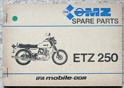MZ ETZ 250 MOTORCYCLE Illustrated Spare Parts Catalogue 1984 #III-1-1 KT 10/85