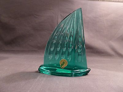 Waterford CUT CRYSTAL TEAL GREEN SAILBOAT Figurine - Signed with Box