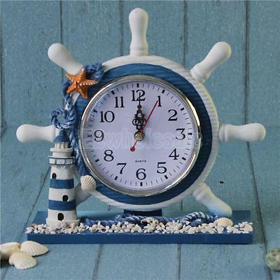Nautical Theme Wood Round Anchor Boat Steering Wheel Time Clock Decor House