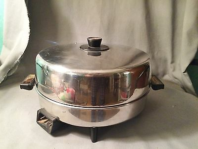 """Vtg REVERE WARE 8851 Electric Stainless Steel Copper Core 12"""" Skillet Pan Lid"""