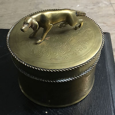 Dog Urn - BRASS - with beautiful embossed trim and floral design