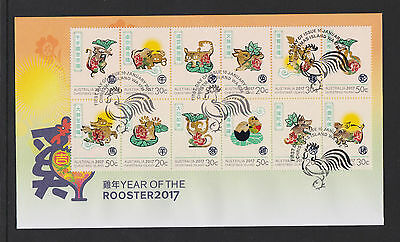 Christmas Island 2017 : Year of the Rooster, First Day Cover ( zodiac )