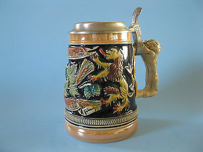 Beer Stein--Lidded and Done in Vibrant Colours