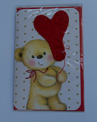 *NEW* *SEALED* Valentines Day Card - Teddy Bear with Balloon - by Card Couture