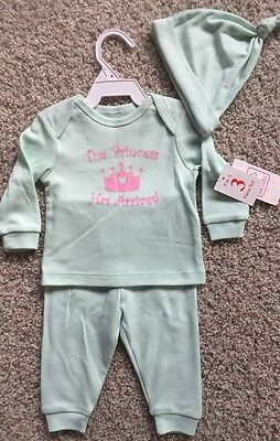 NEW Baby Girl Size 6-9 Months Pink Green Outfit Long Shirt Pant Hat 3pc Set Gift