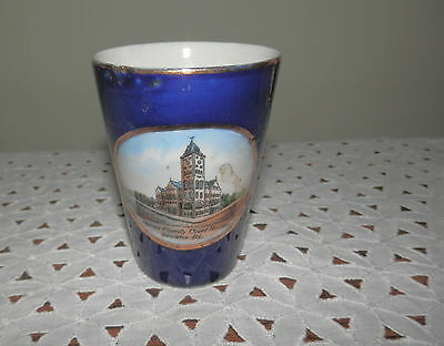 Vintage Souvenir Glass Macon County Courthouse, Decatur, IL, Glass Made Germany