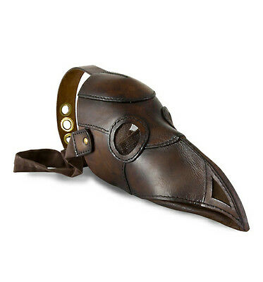 Plague Doctor Mask, Brown Leather, Medieval, COSPLAY, LARP, Steampunk,