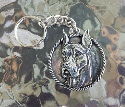 FAMILY HOUSE PET PUREBRED 1 GREAT DAME DOG PEWTER KEY CHAIN All New