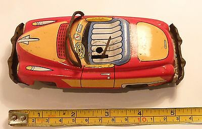 Vintage Japanese tin toy car, friction drive coupe #75329, no driver 140mm L