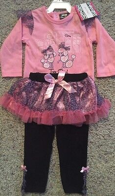 NEW Girls Size 12 Months Pink Black Tutu Outfit Long Puppy Shirt Pants Leggings