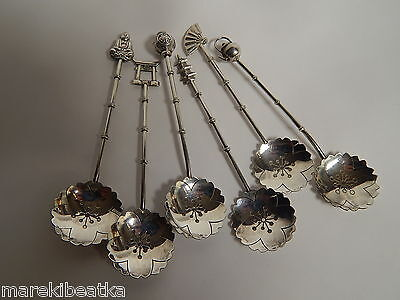 Antique Chinese  950 Sterling 6 Figural Dessert, Ice Cream Cpoon Set W /  Box