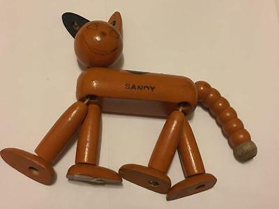 Antique Jaymar Orange Little Orphan Annie's Dog Sandy Wooden Jointed Toy 1930's